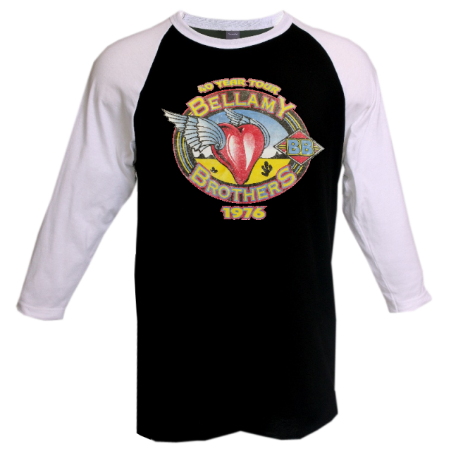 Bellamy Brothers 2017 Black and White Raglan 40 Year Tour Tee