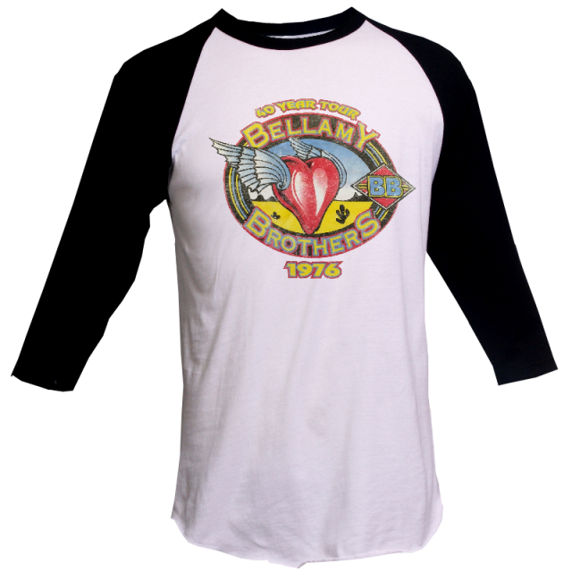 Bellamy Brothers White and Black Raglan 40 Year Tour Tee